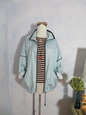 Parka Jacke 90s Vintage Pastell Türkis Navy Blue Parka Oversize Zip Anorak Jacke Mantel Sportjacke Casual Wear Übergangsjacke