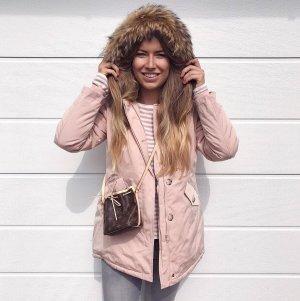 Abrigo de piel rosa-rosa claro tejido mezclado