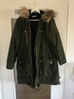 Urban Outfitters Manteau à capuche vert foncé-beige