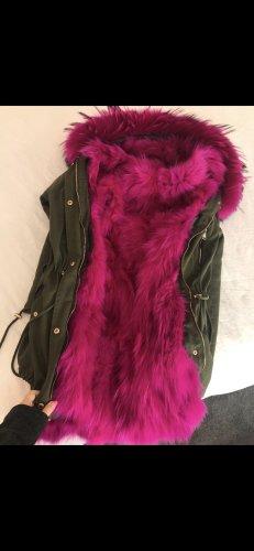 Parka Pink echtes Fell XXL Kragen