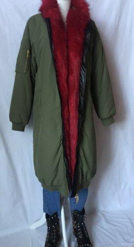 Oversized Coat green grey-red