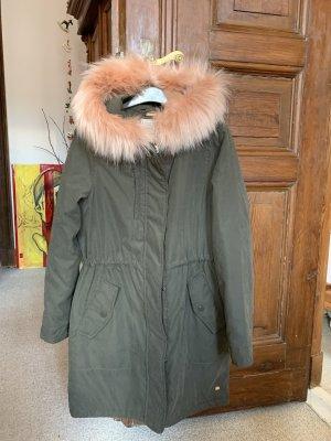 Pull & Bear Abrigo con capucha caqui Poliéster