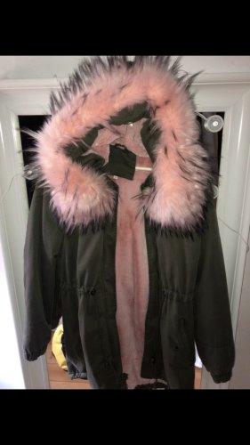 Parka pink-dark green