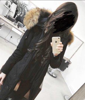 Abrigo con capucha negro-color bronce Algodón