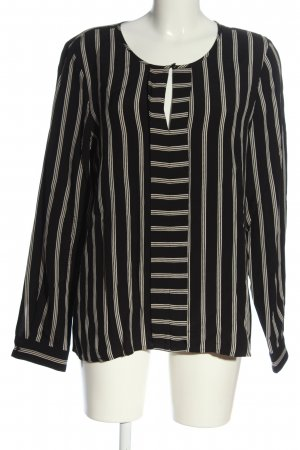 Part two Long Sleeve Blouse black-white striped pattern casual look