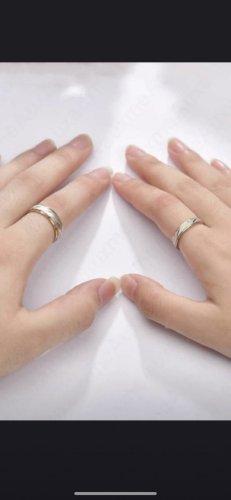 Pierścionek dla par srebrny-złoto