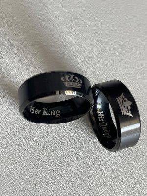 partnerringe in schwarz silber mit gravur