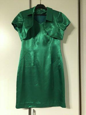 Party Abendkleid festlich Satin Kleid Set aus mehreren Teilen in grün Größe 38