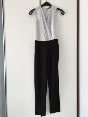 Party festlich elegant Schlankmacher Jumpsuit Silber schwarz, sehr edel, neu Gr. M