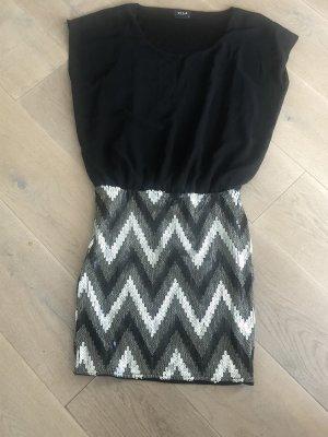 Vila Clothes Abito con paillettes nero-argento