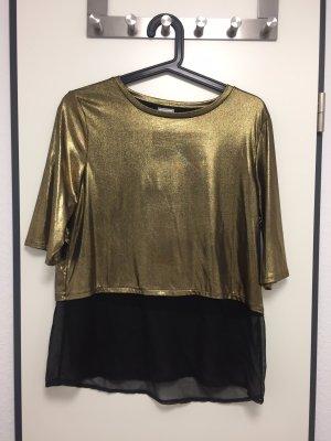 Pimkie Camisa de malla color oro-negro