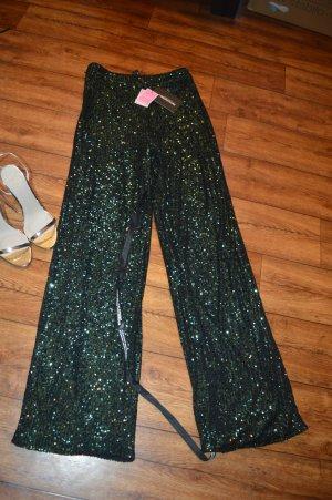 PrettyLittleThing Pantalone a zampa d'elefante verde scuro