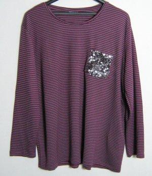 Party Shirt Größe 48/50 Laura Torelli Pailletten Dunkle Beere Streifen