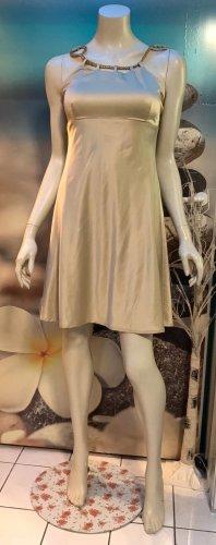 Vestido de noche beige claro-color oro
