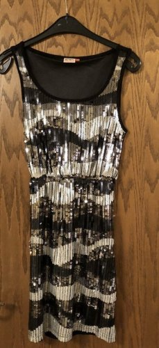 Only Vestido de lentejuelas color plata-negro