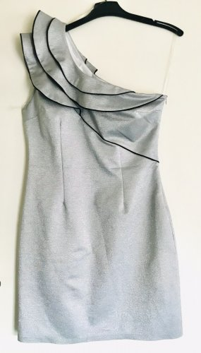 Robe asymétrique argenté-noir