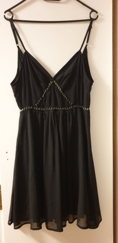 H&M Vestido cut out negro-color oro