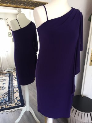 One Shoulder Dress dark violet polyester