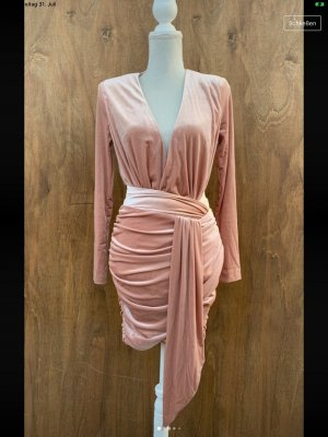 Partykleid kurzes mini Kleid Wickelkleid beige samt