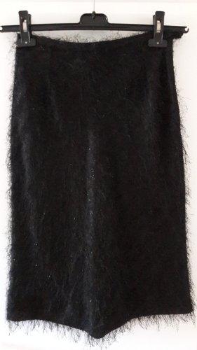 Cortefiel Jupe à franges noir tissu mixte