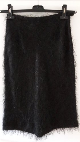 Cortefiel Fringed Skirt black mixture fibre