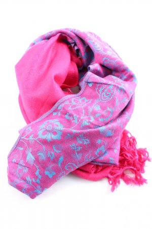 Pashmina Fringed Scarf pink-blue allover print casual look