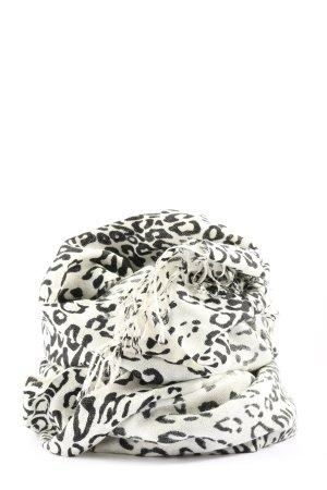 Pashmina Bufanda de flecos blanco-negro estampado de leopardo look casual