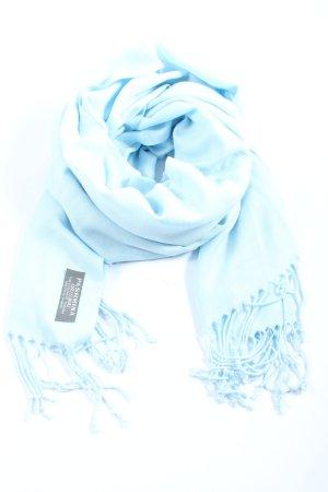 Pashmina Bufanda de flecos azul look casual
