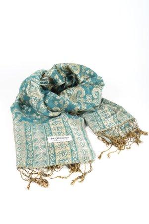Pashmina Bufanda de flecos azul-caqui look casual