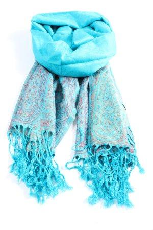 Pashmina Bufanda de flecos turquesa estampado con diseño abstracto look casual