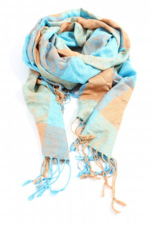 Pashmina Fringed Scarf blue-nude flower pattern casual look