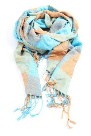 Pashmina Fransenschal blau-nude Blumenmuster Casual-Look