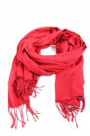 Pashmina Fringed Scarf red casual look