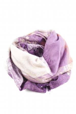 Pashmina Fransenschal lila-wollweiß abstraktes Muster Casual-Look