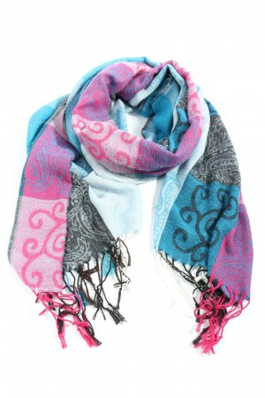 Pashmina Fringed Scarf blue-pink themed print casual look