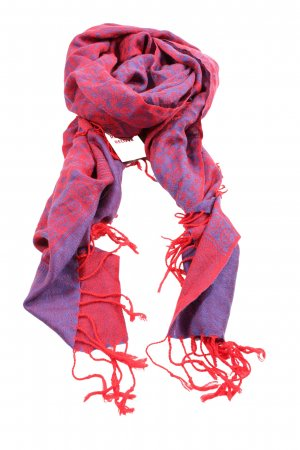 Pashmina Fringed Scarf blue-red abstract pattern casual look