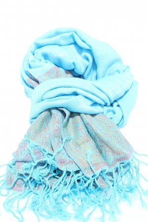 Pashmina Cashmere Scarf blue themed print casual look