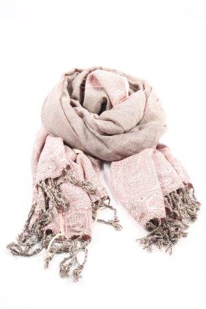 Pashmina Sjaal van kasjmier roze-bruin gestippeld casual uitstraling