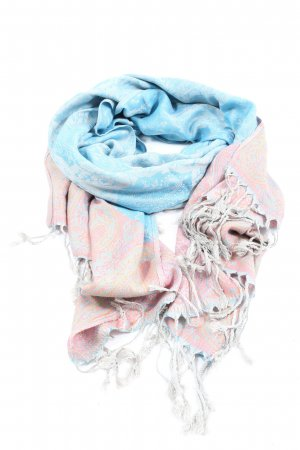 Pashmina Cashmere Scarf blue-pink abstract pattern casual look