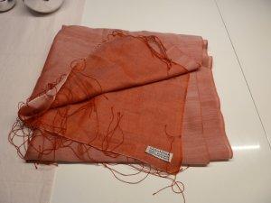 Pashmina Sciarpa di seta rosso mattone-rosso chiaro Seta