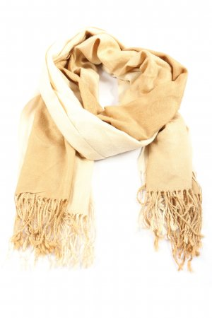 Pashmina Bufanda de lana marrón-blanco puro look casual