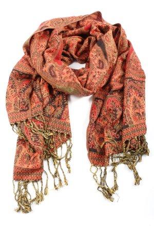 Pashmina Jedwabny szal czerwony-brązowy Wzór w kwiaty W stylu casual