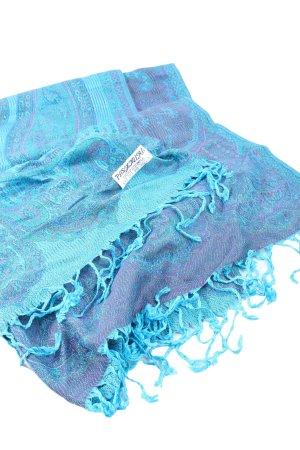 pasnaina Pashmina azul-lila estampado con diseño abstracto look casual