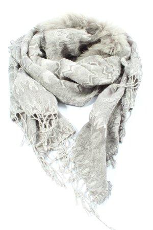 Passigatti Fransenschal hellgrau-wollweiß abstraktes Muster Casual-Look