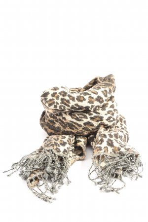 Passigatti Fringed Scarf white-brown allover print business style