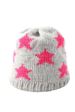 Passigatti Strickmütze hellgrau-pink Motivdruck Casual-Look