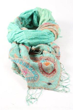 Passigatti Zijden sjaal turkoois-bruin extravagante stijl