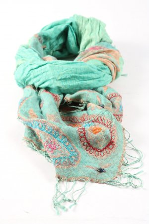 Passigatti Bufanda de seda turquesa-marrón estilo extravagante