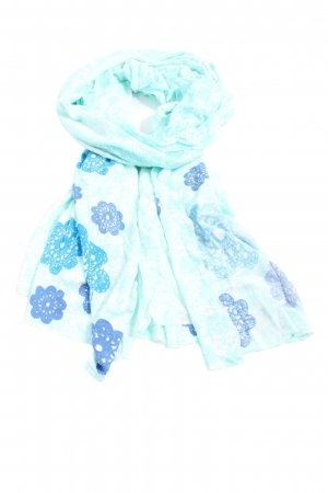 Passigatti Summer Scarf turquoise-blue flower pattern casual look