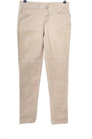 Passport Pantalon cinq poches crème motif de fleur style d'affaires